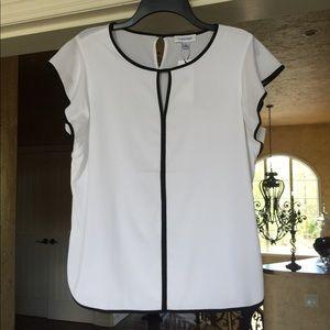 Calvin Klein NWT White and Black Blouse